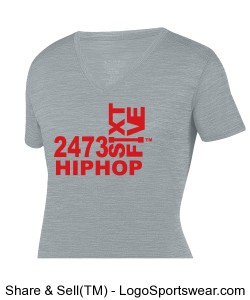 Ladies Gray V-Neck HIPHOP Design Zoom